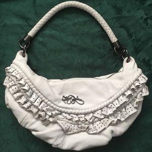 Betsey Johnson white leather hobo shoulder bag